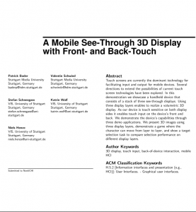 Design and Evaluation of a Layered Handheld 3D Display with Touch-sensitive Front and Back