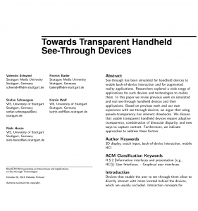 Towards Transparent Handheld See-Through Devices