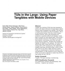 TUIs in the Large: Using Paper Tangibles with Mobile Devices