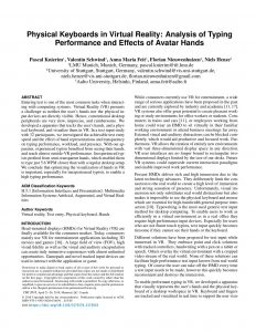 Physical Keyboards in Virtual Reality: Analysis of Typing Performance and Effects of Avatar Hands