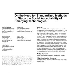 On the Need for Standardized Methods to Study the Social Acceptability of Emerging Technologies